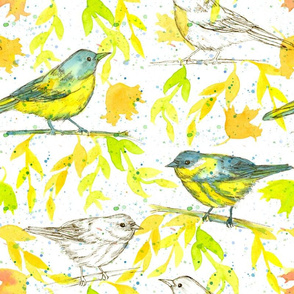 Warblers in Yellow Leaves