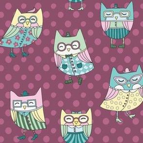 dapper owls in burgundy