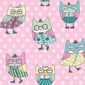 dapper owls  in pink