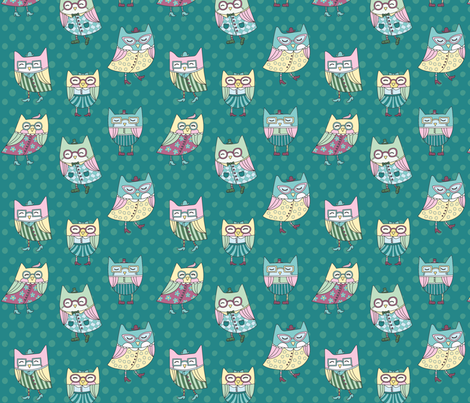 dapper owls in teal fabric by pinkowlet on Spoonflower - custom fabric