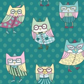 dapper owls in teal