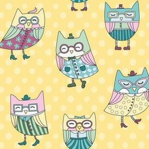dapper owls in yellow