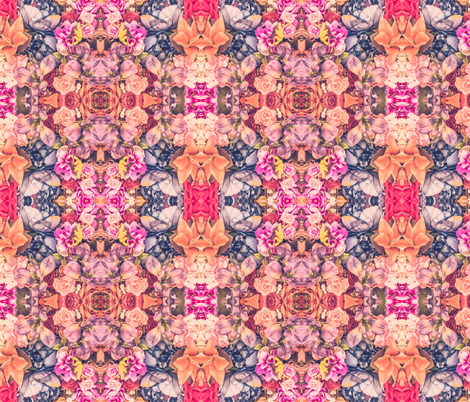 Retro Vintage Flowers Floral Mirror fabric by khaus on Spoonflower - custom fabric