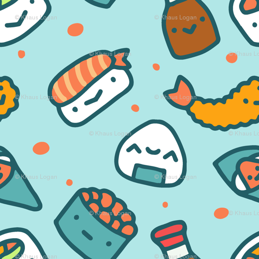 Cute Sushi Food Fabric Wallpaper Furbuddy Spoonflower