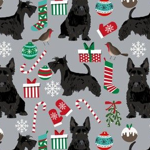 scottish terrier dog fabric quarry grey christmas design scottie dog fabric
