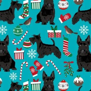 scottish terrier dog fabric peacock blue christmas design scottie dog fabric