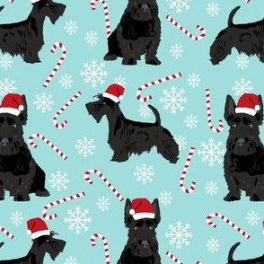 scottish terrier dog fabric blue tint christmas design scottie dog fabric