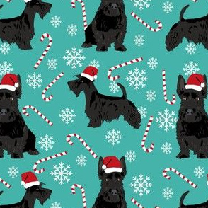 scottish terrier dog fabric turquoise christmas design scottie dog fabric