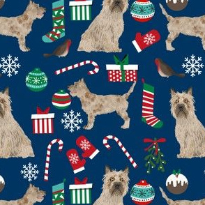 cairn terrier christmas fabric terrier dog dogs fabric cairn terriers navy blue