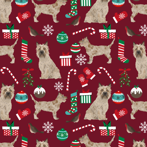 cairn terrier christmas fabric terrier dog dogs fabric cairn terriers ruby red fabric by petfriendly on Spoonflower - custom fabric