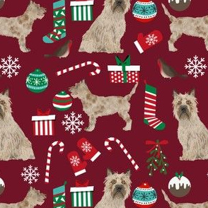 cairn terrier christmas fabric terrier dog dogs fabric cairn terriers ruby red