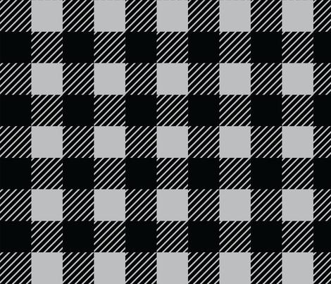 Buffalo plaid - 2 inches - Grey & Black fabric by howjoyful on Spoonflower - custom fabric