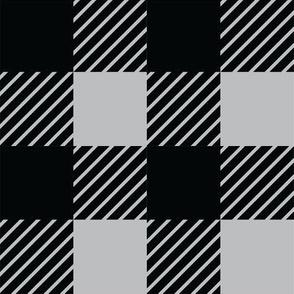 Buffalo plaid - 2 inches - Grey & Black