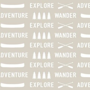 explore wander adventure on beige || adventure camp