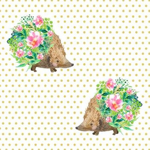 Hedgehogs Yellow Polka Dots - Facing Each Other