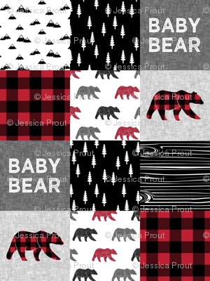"3"" small scale - baby bear patchwork quilt top 