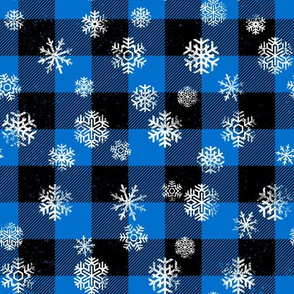 Snowflake  Buffalo Plaid Blue Black
