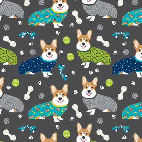 corgi pjs fabric corgis in pajamas fabrics cute corgi designs best corgi fabric fabric by petfriendly on Spoonflower - custom fabric