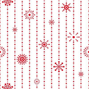 Snowflake Curtains White Red