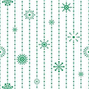 Snowflake Curtains White Green