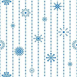 Snowflake Curtains White Blue