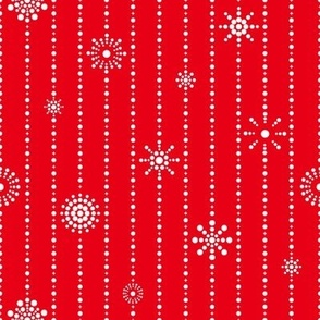 Snowflake Curtains Red White