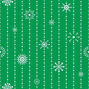 Snowflake Curtains Green White