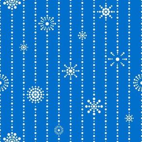 Snowflake Curtains Blue White