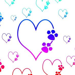 Rainbow Heart Paw Print