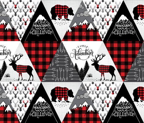 Cheater quilt - buffalo adventure - 12 inches repeat fabric by howjoyful on Spoonflower - custom fabric