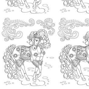 Prancing Paisley Horse Design