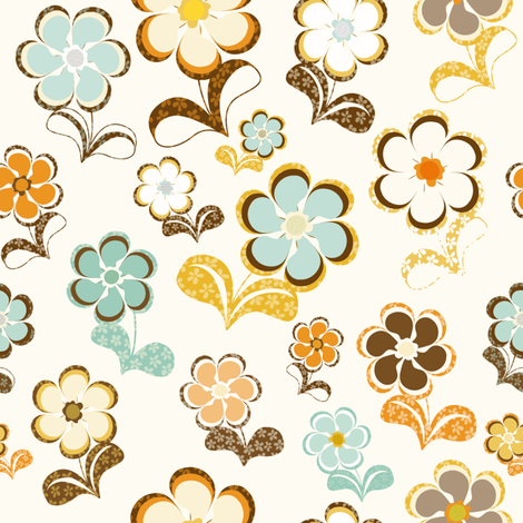 Sixties Flowers fabric by paula_ohreen_designs on Spoonflower - custom fabric