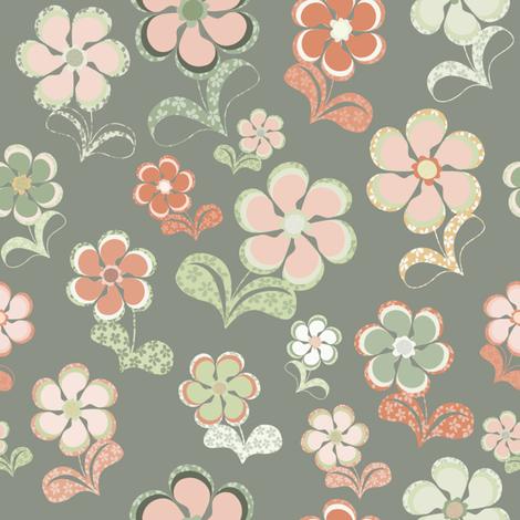 Sixties Flowers fabric by paula_ohreen_designs on Spoonflower - custom fabric