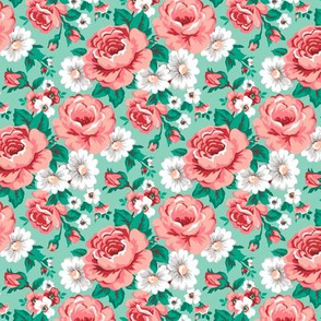 Floral with Roses in Mint Smaller Tiny