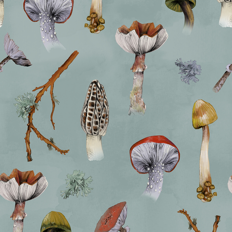 Mushroom Party fabric by lascarlatte on Spoonflower - custom fabric