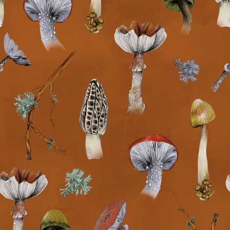Mushroom Party Rust fabric by lascarlatte on Spoonflower - custom fabric