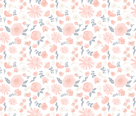 Watercolor flowers fabric by katievaz on Spoonflower - custom fabric