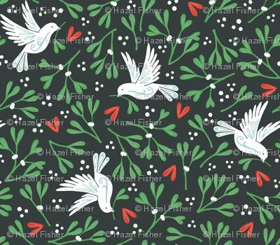 Mistletoe and Doves - dark background