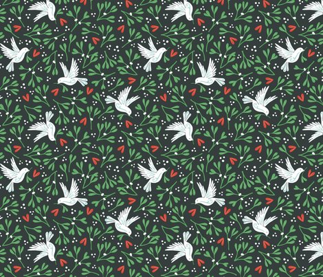 Mistletoe_and_doves_dark_background_150_hazel_fisher_creations_shop_preview