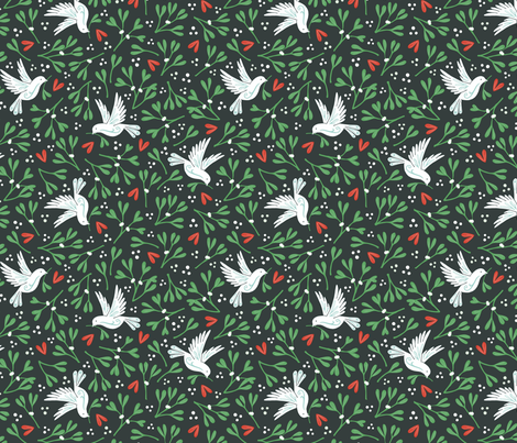 Mistletoe and Doves - dark background fabric by hazelfishercreations on Spoonflower - custom fabric