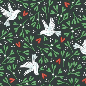 Mistletoe and Doves - dark background