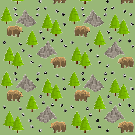 grizzly on the way - green fabric by stofftoy on Spoonflower - custom fabric