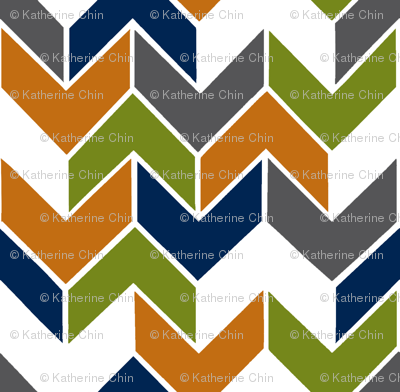 Orange Navy Lime Geometric