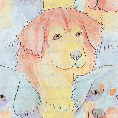 Watercolor Tibetan mastiff faces - medium