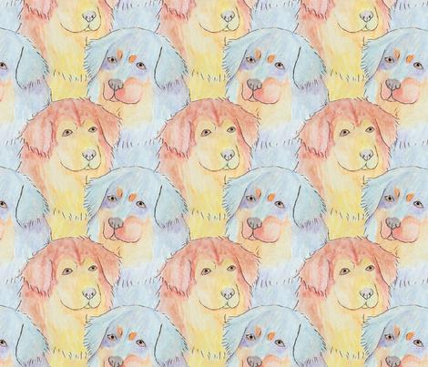 Watercolor Tibetan mastiff faces - medium fabric by rusticcorgi on Spoonflower - custom fabric