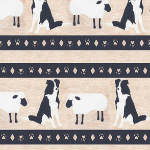 Primitive Border Collie and sheep border - extra wide border
