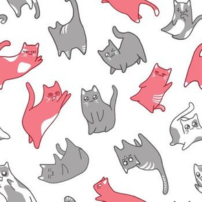 Kawaii cats pink and grey