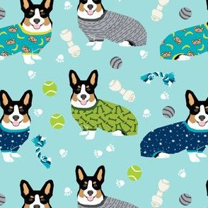 corgis in pjs tricolored corgis fabric cute corgi design best corgi fabric