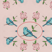 Bird on a Branch w/ roses  (pink)