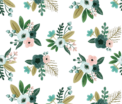 Floral Bunches Large fabric by bluebirdcoop on Spoonflower - custom fabric
